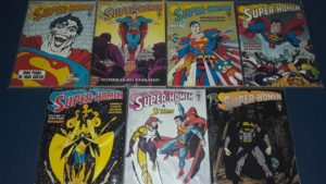 Na foto, quadrinhos da DC de uma série sobre o Super Homem